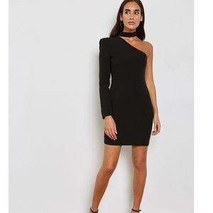Bardot one shoulder choker dress